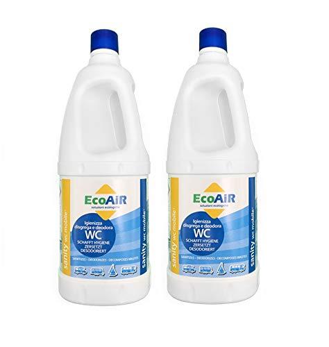Prime 2 Pezzi - Bottiglia da 2 Litri DISGREGANTE WC Sanity Mobile - Liquido per Serbatoio ACQUE Nere WC Toilette Camper - COMPARABILE DISGREGANTE Aqua KEM - Made Italy