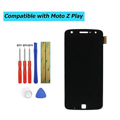 E-YIIVIIL Ersatz Super AMOLED Display Kompatibel Für Motorola Moto Z Play XT1635-02, XT1635-01 5,5 Zoll (Schwarz Ohne Rahmen) Ersatzteil Reparatur LCD Touch Screen with Toolkit