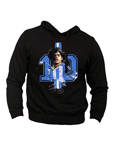 Generico Felpa Maradona Napoli celebrativa Diego Armando Maradona El pibe de Oro - Hoodie con Cappuccio Mano de dios Numero 10 Argentina (Nero, L)