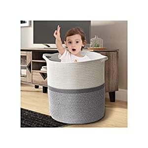 FEANOR Medium Woven Cotton Rope Basket 13″×15″ Woven Storage Basket – Tall Basket with Handle, Threaded Laundry Hamper for Toys, Throws, Pillows, Clothing and Towels (Cream/gray stripes)