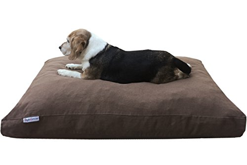 Dogbed4less Memory Foam Dog Bed for Small to Medium Dogs, Waterproof Lining and Machine Washable Durable Pet Bed Denim Cover 37X27 Pillow, Brown