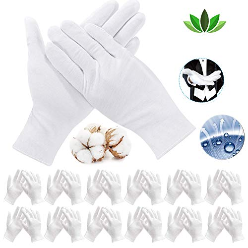 cersaty® 12 paires (24 gants) Gants en Coton Blanc,Gant Tissu Lavable élastiques Gants de Travail, pour Mains Sèches et L'eczéma, Hydratants, Inspection de Bijoux et Plus