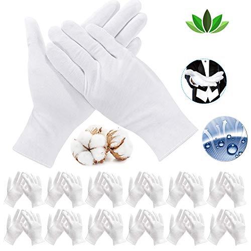 12 Paar (24 Pcs) Weiße Handschuhe Baumwolle, Care Baumwollhandschuhe, Größe XXL, Zwirnhandschuhe aus 100% Baumwolle,Bequem und Atmungsaktiv, für Hautpflege, Tägliche Arbeit usw