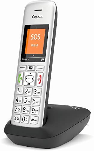 Gigaset E390 Schnurloses Senioren Telefon mit großen Tasten und SOS-Funktion - einfache Bedienung, extra großes Farbdisplay, hohe Klangqualität, silber-schwarz