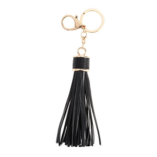 Fenical Taschenanhänger Schlüsselanhänger mit Quaste PU Leder für Auto Tasche Schlüssel (Schwarz)