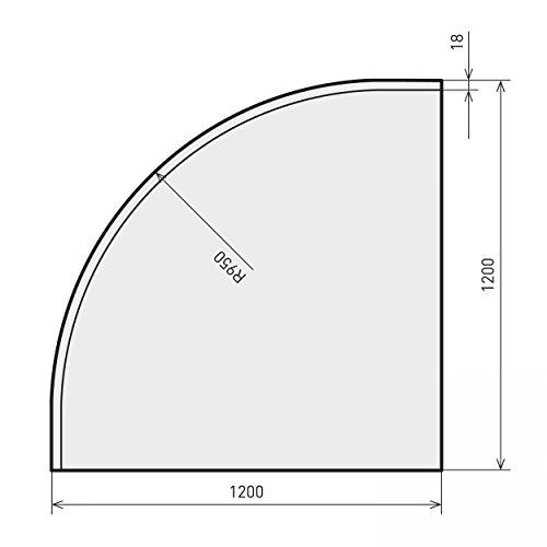 raik B40018 Kamin Glasplatte Viertelkreis inkl. Facette