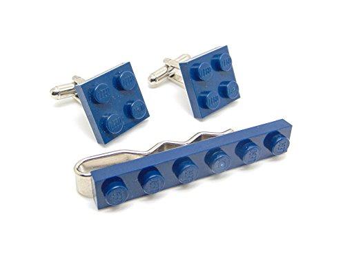 Bleu foncé authentique Lego plaque Pince à cravate et boutons de manchette – Funky rétro Cool Boutons de manchette fabriqué par Jeff Jeffers