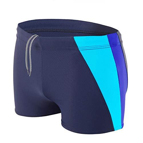 Aquarti Bañador Deportivo para Hombre Tipo Boxer, Azul Oscuro/Azul Brillante/Turquesa, XXL