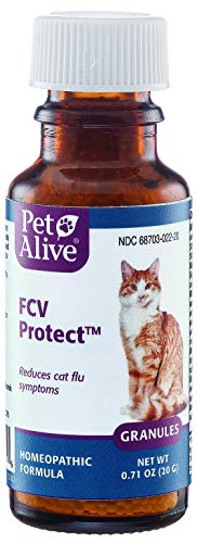 PetAlive FCV Protect - Natural Homeopathic Formula Temporarily Relieves The Common FCV Symptoms of Watery Eyes, Sneezing and Nasal Congestion in Cats - 20g
