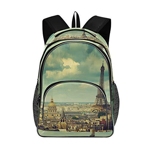 ISAOA - Bolsas escolares para adolescentes y niñas, estudiantes universitarios, estilo vintage, de la Torre Eiffel de París, mochila de viaje con puerto de carga USB