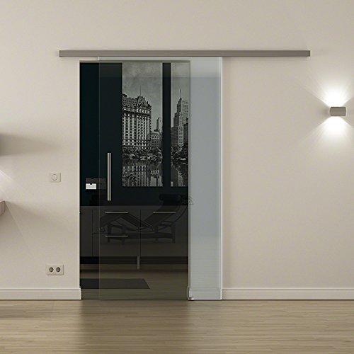 Glazen schuifdeur voor binnen met softclose-systeem van LEVIDOR ® - Breedte glas: 900 mm Hoogte: 2050 mm - Glas: Helder glas met stanggreep zeer hoge kwaliteit