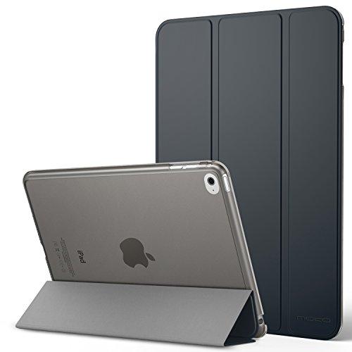 MoKo Hülle Kompatibel für iPad Mini 4 - PU Leder Tasche Schutzhülle Schale Smart Case mit Transluzent Rücken Deckel, mit Auto Schlaf / Wach Funktion & Stanfunktion, Space Grau