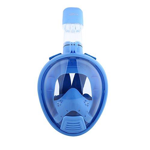 SUYANG 180 ° Ver Máscara De Snorkeling, Máscara De Snorkeling De Cara Completa, 180 ° Vista Cara Completa Máscara De Snorkeling Anti-Fugas Anti-Niebla Máscara De Buceo Niños (Azul)