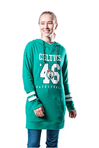 Ultra Game NBA Boston Celtics Womens Tunic Hoodie Pullover Terry Sweatshirt, Team Color, X-Large