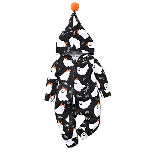 Baby Girl Halloween Clothes Outfits Onesie Hoodie Romper Fall Holiday Infant Ghost Jumpsuit for Toddler Grils Black