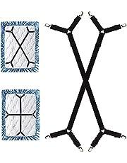 DWYQ Verstelbare bedlakenspanner, lakspanner met metalen clips, matrasklemmen met lange spanbanden, gekruiste bedlakenclips voor laken, matras, zwart, 2 stuks