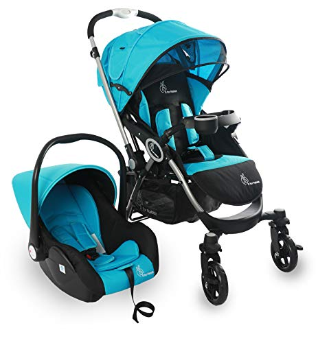 R for Rabbit Travel System - Chocolate Ride - Baby Stroller and Pram + Infant Car seat for Kids | Newborn Boy & Girl of 0 to 3 Years (Blue Black)