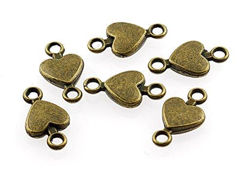 12 Verbinder Herz in antik Bronze von Vintageparts, DIY-Schmuck