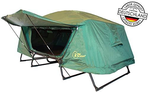 Plan Re feldzelt+ Großes Feldbett mit Zelt auf Beinen Festival-Zelt Angelzelt 100% Regendicht durch doppelte Außenhaut Mückensicher durch Fliegengitter Isomatte 1 oder 2 Personen Modell