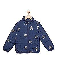 t-base Girls Navy Star Printed Mock Collar Padded Jacket
