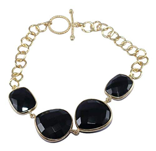 925 Sterling Silver Black Onyx Gemstone Gold Plated 7.5 inch Bracelet Fine Silver Jewelry Crystalcraftindia