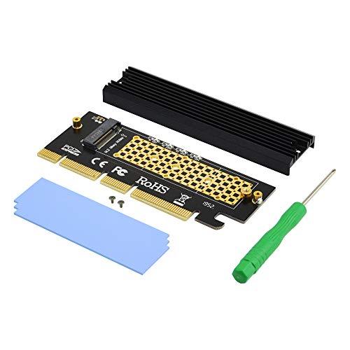 ADWITS PCI Express 3.0 4x 8x da 16x a M.2 Scheda adattatore NVMe e AHCI SSD con dissipatore di calore, senza staffa e compatibile con Samsung 960 970 EVO PRO WD nero e altro