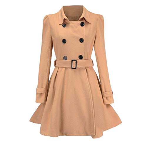 Forthery Women Double Breasted Pea Coat Winter Trench Jacket with Belt(Khaki,M)