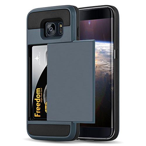 Cadorabo Funda para Samsung Galaxy S7 Edge Funda Hybrid Tesoro en Caja Fuerte Azul Marino – Cubierta Protectora de Plástico e Silicone TPU con Antichoque e Tarjetero –
