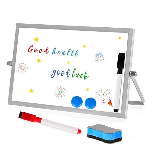 Magnetisches Whiteboard,Magnettafel Beschreibbar Weiß Tafel Doppelseitiges Kleines Desktop Whiteboard mit Stift und Aluminiumstreifen, Trockenlöschen Whiteboard für Büro Schule Zuhause(18 x 28 cm)