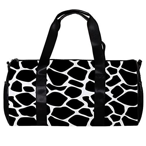 Bolsa de viaje para mujeres hombres negro blanco vaca deportes gimnasio bolsa bolsa de viaje de fin de semana al aire libre bolsa de equipaje