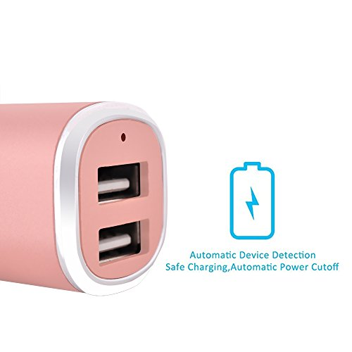 Tranesca Dual USB Car Charger (Compatible with) for iPhone X 8 7 6S 6 Plus, 5 SE 5S 5 5C, Samsung Galaxy S9 S8 S7 S6 Edge, Note 8 4, LG G6 G5 V10, HTC,Nexus 5 X 6P,Pixel,iPad Pro and More- Rose Gold
