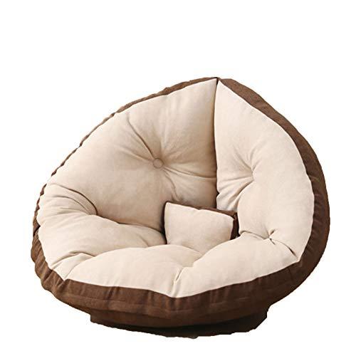 Wsaman Sofá portátil y acolchado suave y plegable, para tumbona perezosa, funda de almacenamiento para silla de juegos con transformable extraíble para leer, videojuegos, ver televisión, marrón, M