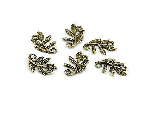 10 Verbinder Blätterranke in antik Bronze von Vintageparts, DIY-Schmuck