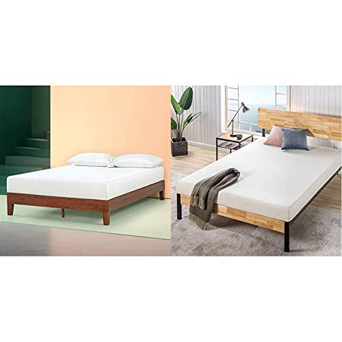 Zinus Wen 12 Inch Deluxe Wood Platform Bed Frame with Zinus 6 Inch Ultima Memory Foam Mattress