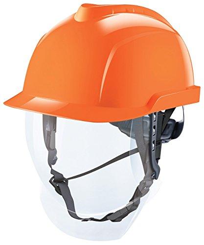 MSA V-Gard 950 Helm mit Visier EN397 mit Drehradregelung FasTrack - ATEX Bauarbeiterhelm Elektrikerhelm Arbeitshelm Schutzhelm, Farbe: orange