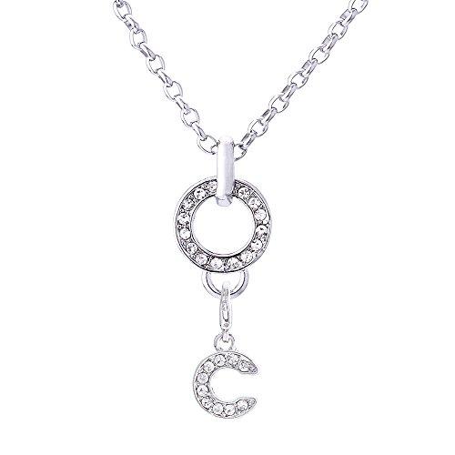 Morella Edelstahl Halskette 70 cm und Charms Anhänger Buchstabe C mit Zirkoniasteinen in schwarzem Samtbeutel