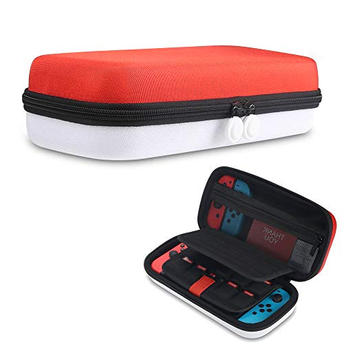 Case For Switch & Switch OLED RED & WHITE Double Bottom Protective Hard Shell, Fits 29 Game Card Slots Portable Travel Case With Handle and Pouch For Accessories