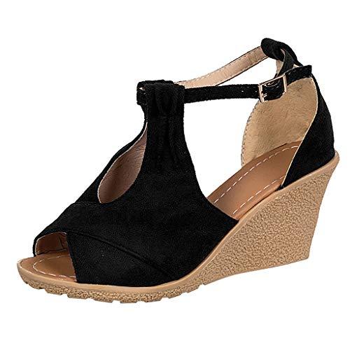 Wyxhkj Sandalias Cuñas Para Mujer Zapatos Casuales Tacón Alto Zapatos De Boca De Pescado Sandalias Con Hebilla Peep Toe Tamaño Grande Sandalias Plataforma Romanas