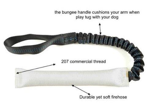 White Fire Hose Bungee Tug Toy 1' X 16' - Redline K9