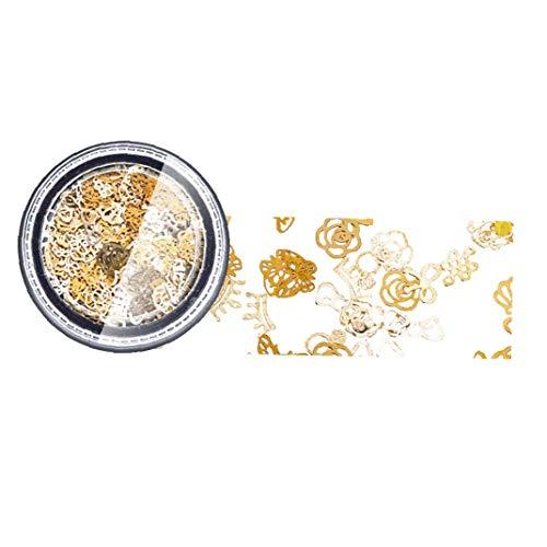 Goujons Creative Nail Métal Conseils ongles Bijoux Décoration Nail Art Stickers avec Rose bowknot coeur Trèfle Formes pour Ongles 3D Nail Art 13g- 1pc