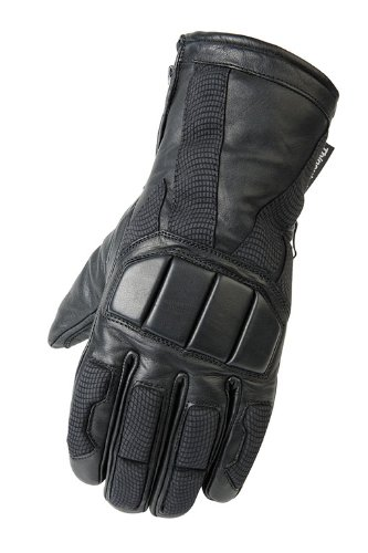 Mossi Leather Snowmobile Gloves (Black, XX-Large)