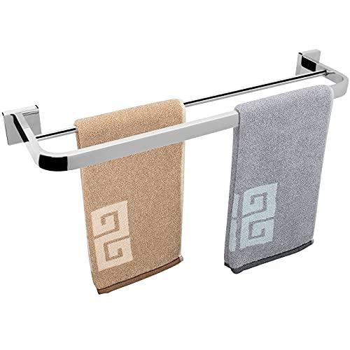 NearMoon Double Bath Towel Bar, Bathroom Accessories-Thicken Stainless Steel Shower Towel Rack for Bathroom/ Kitchen, Elegant Arc Edge Towel Holder Wall Mounted (Chrome Finish, 22 Inch)