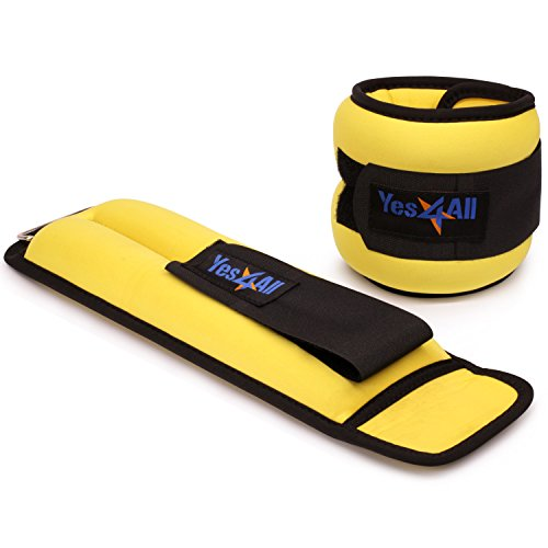 Yes4ll 4 lbs Ankle Weights/Wrist Weights for Women and Men – Fully Adjustable Leg Weights for Walking, Fitness, Cardio Exercise (4 lbs x2, Yellow)