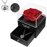 Caja de regalo para collar con rosas eternas hechas a mano, para el día de San Valentín, aniversario de boda, regalo de cumpleaños (rojo)