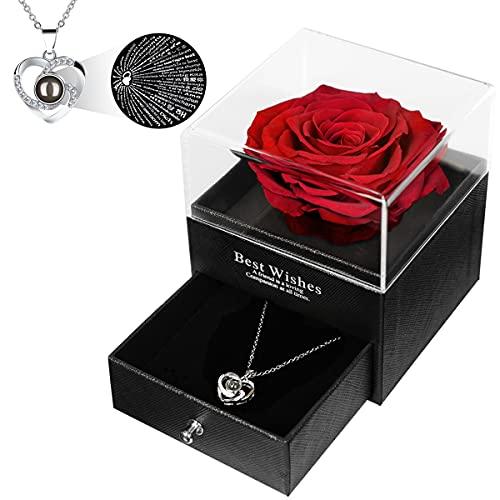 Cadeau De Maman PréServer True Rose 100 Langues Je T'Aime Collier De MèRe En Argent Pur FêTe Des MèRes / NoëL / Cadeau D'Anniversaire De La MèRe / Futur Cadeau De La MèRe