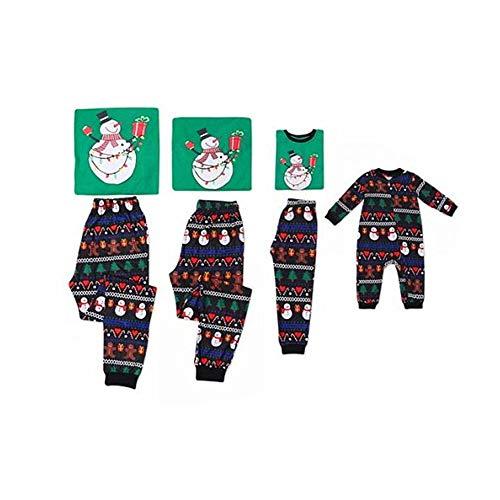 Hiser Pijamas Dos Piezas Familiares de Invierno, Navidad Ropa de Noche Homewear Algodón Top de Manga Larga Chándal Pantalones para Mujeres Hombres Niño Bebe (Hombres XXXL,Monigote de Nieve)