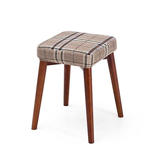 Tabouret carré, peut être tabouret empilé, tabouret dressing mode créatif, tabouret de table en tissu, petit banc à la maison, tabouret en bois massif (Couleur : Rice tread)