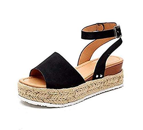Women\\\'s Platform Sandals Espadrille Wedge Ankle Strap Studded Open Toe Sandals Summer Ankle Buckle Open Toe Wedges Heels (Black,38) Black Open Toe Ankle Strap