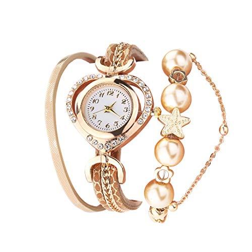 XY Women Bracelet Watches With Pearl Pendant Luxury Ladies Leather Quartz Watch Rhinestone Wristwatches Clock Zegarek Damski#W (Color : A)