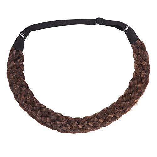 Heyu-Lotus Haarband Geflochten Hair Plait Hairband Elastisch Stretch Haarteil Verstellbare Kopfband Extensions Haar Geflochten Haarverlängerung für Damen (Hellbraun)